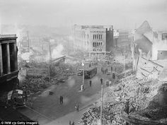 The ruins of Coventry. Even the Luftwaffe couldn't stop Derek delivering milk after he sta...