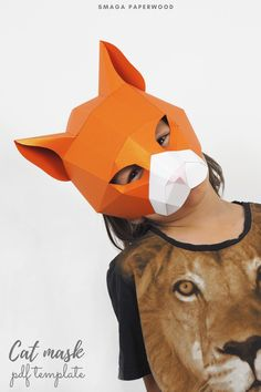 Make your own Papercraft 3d animal mask. Low poly paper craft Cat mask by SmagaPaperwood Animal Costumes, Cat Costumes, Costume Ideas, Unique Halloween Costumes, Halloween Masks, Printable Masks, Printables, Paper Face Mask, Low Poly Mask