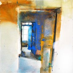 Glorious combination of blue and yellow. I love the way Marc Folly uses bold colours to create a dynamic painting. #watercolour #light #colourfest #doorways #watercolorpainting