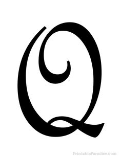Printable Letter Q in Cursive Writing