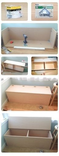 Storage bench / TOY BOX DIY - could use Kreg Jig instead of brackets and hide all the hardware... need for the kids room - LOVE the double storage!