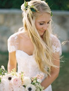 Searching for the perfect hair inspiration for your big day? Get inspired by these gorgeous wedding hairstyles that will leave any bride tressed to impress Wedding Hair Flowers, Wedding Hair And Makeup, Flowers In Hair, Bridal Hair, Wedding Dresses, White Flowers, Hair Makeup, Wedding Attire, Wedding Hairstyles With Veil