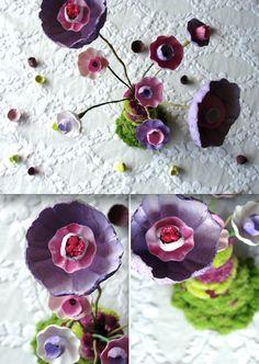 Matrimonio eco: centrotavola, vaso di fiori in stile boho con fiori di carta - Green wedding centerpieces with paper flowers by Alessandra Fabre Repetto