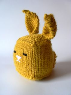 Handknit Cuddly Cube Toy BunnyMustard Yellow by TailsandSnouts