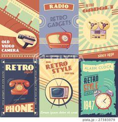 Retro Gadgets Cartoon Posters