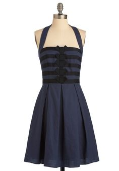 """Recital from Memory"" Dress, Modcloth. Love the black on navy!"