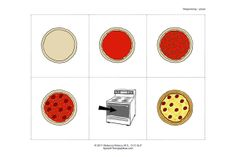 Sequencing cards to make pizza
