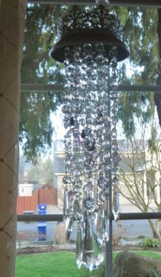 crystal wind chimes made with vintage genuine crystal. $135.00, via Etsy.