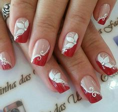 Decorated nails: trends in manicure for Autumn / Winter # nails decorated - Best Nail Art Classy Nails, Fancy Nails, Red Nails, Nail Tip Designs, Acrylic Nail Designs, Nails Design, Holiday Nails, Christmas Nails, Nagel Stamping