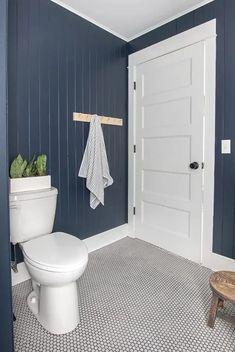 Lake House Bathroom, Boy Bathroom, Bathroom Ideas, Bathrooms, Downstairs Bathroom, Bathroom Inspiration, Dark Paint Colors, Blogger Home, Jack And Jill Bathroom