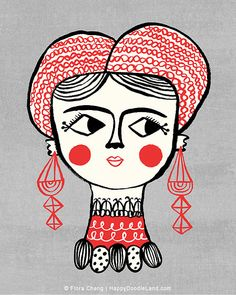 """Lady With Red Earrings,  8""""x10"""" art print by flora chang 