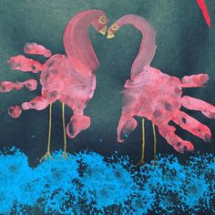 """My little one loves birds- so these """"kissing"""" flamingoes were a complete hit!  Sponge painting with some creative hand printing and an eency bit of mum-pen-intervention at the end!  #kidscrafts #kidscrafts101 #kidsactivities #playingtime #artsandcrafts #flamingo #funwithfam #mum #mom #instagood"""