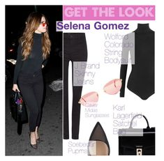 """""""Get The Look : Selena Gomez"""" by tasnime-ben ❤ liked on Polyvore featuring Wolford, J Brand and Karl Lagerfeld"""