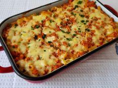 Paste cu carne tocata de pui si mozzarela Paste, Mozzarella, Mashed Potatoes, Macaroni And Cheese, Catering, Delish, Ethnic Recipes, Food, Whipped Potatoes