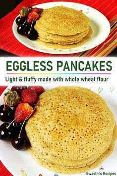 eggless pancake Try these fluffy and light eggless pancakes! Made with whole wheat flour these are a breakfast treat if you are on a eggfree diet. For a vegan version use plant based milk and butter. Eggless Pancake Recipe, Eggless Desserts, Eggless Recipes, Eggless Baking, Spicy Recipes, Baby Food Recipes, Baking Recipes, Sweet Recipes, Cake Recipes
