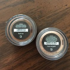 Bare Minerals Faux Tan and Highlighter Brand new, sealed face items from Bare Minerals. Items include faux tan all over face color/bronzer and turn on the gold multitasking highlighter. Each container is 0.02 ounces/0.57 grams in size. Please ask if you have any questions, need any measurements or more pictures. No trades. ✨Open to offers.✨ bareMinerals Makeup Luminizer