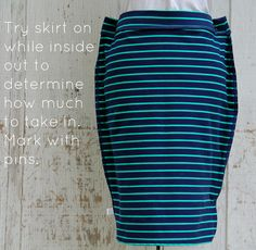 how to take in a skirt  by KristinaJ., for beginner seamstresses. This is a good one to start with