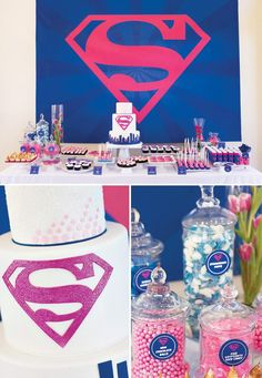 pink and blue superman dessert table