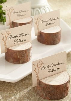 When it's all about trees and nature, only genuine wood will do. This stunningly simple, genuine-wood place card/photo holder adds to the beauty of any setting where family, friends, and the beauty of nature are gathered. #rusticweddings #davidsbridal