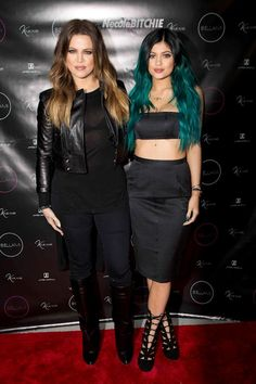 Khloe Kardashian and Kylie Jenner at hair extensions launch