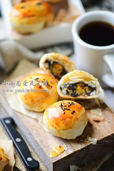 Flaky Asian Buns with Red Bean Paste and Salted Duck Egg Yolks — Yankitchen Asian Bread Recipe, Blueberry Yogurt Popsicles, Asian Buns, Cream Bun, Red Bean Paste, Asian Grocery, Duck Eggs, Food Painting, Mooncake