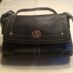 """Coach Black Pebble shoulder or crossbody bagF13957 Excellent condition coach bag with fold over flap. Open front pocket.  Inside has zipper compartment and 2 pockets. Burgundy lining. Silver tone hardware. Minimal use.  Approximately 11 1/2"""" W X  8 1/2""""H X 3"""" D Coach Bags Shoulder Bags"""