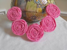 Pink Rosette Necklace Fabric Roses Necklace by JessieKateDesigns, $25.00
