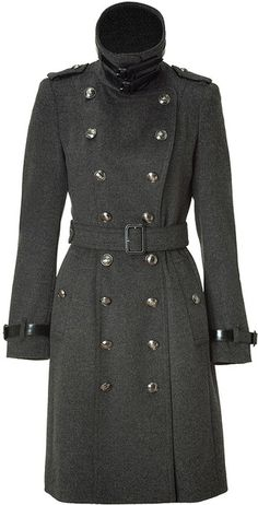 A delicious Burberry Charcoal Wool/cashmere Coat.