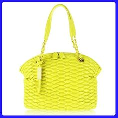 PAOLO MASI Italian Made Lemon Yellow Quilted Lamb Leather Designer Shoulder Bag - Satchels (*Amazon Partner-Link)