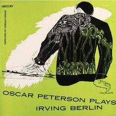 Album cover design by David Stone Martin, 1954, Oscar Peterson plays Irving Berlin, Mercury/Clef 604.