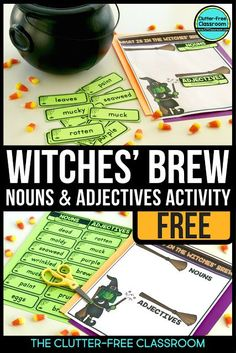 FREE Halloween activities for reading, math, and writing are included in this post. It links to 3 free resources for October perfect for first grade, second grade, third grade and fourth grade students. Third Grade Writing, 2nd Grade Ela, 4th Grade Reading, Second Grade, Math Writing, Grade 3 Math, 3rd Grade Centers, Guided Reading, Adjectives Activities