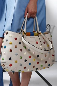 White Fendi Bag with Colorful Studs.