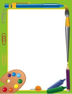 Crayons, paintbrushes, pens and pencils rim the edges of this printable art supplies border for students. Free to download and print.