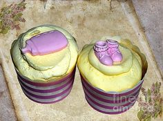 #CUPCAKES - #BOOTIES and #BABY #BOTTLE #Photography Quality Prints Cards at:  http://kaye-menner.artistwebsites.com/featured/cupcakes-booties-and-baby-bottle-kaye-menner.html  -