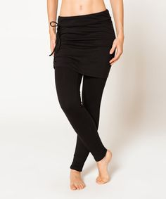 Love this Black Organic Cotton Sukha Skirted Leggings on #zulily! #zulilyfinds