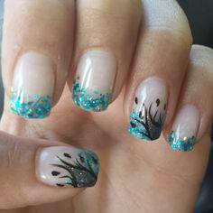 Blue glitter tips and black details