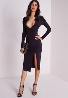 Slinky Side Split Midi Dress Black - Dresses - Midi Dresses - Missguided
