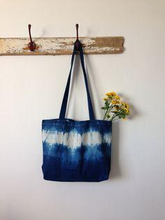Shibori hand bags puckered shibori bag japanese by Indigowares