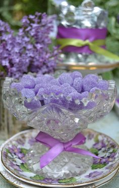 candy in dish | Grape jellies in candy dish