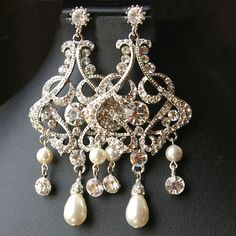 Rhinestone Vintage Bridal Wedding Chandelier Earrings, Vintage Bridal Wedding Jewelry, Ivory White Pearl Earrings, ALESSANDRA