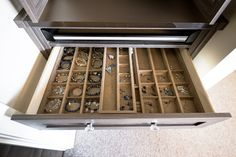 Utilizing California Closets pull out jewelry drawer insert to store smaller items such as earrings, rings, and bracelets. Jewelry Drawer, Jewellery Storage, Shoe Rack With Shelf, Shoe Storage, Storage Ideas, Shelf Dividers, Drawer Inserts, Tie Rack, California Closets