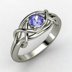 Round Tanzanite Sterling Silver Ring | Infinity Knot Ring | Gemvara