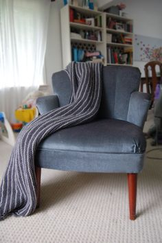 Hand Knit Throw Blanket grey and purple stripe