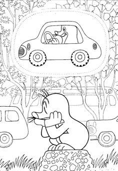 Omalovánky Krtek a autičko k vytisknutí zdarma