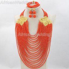 Orange Coral Beades Necklace,African Nigerian Coral Beaded Jewelry,African Nigerian Beads Jewelry,Beads Necklace Set,Beads Necklace.$104.9