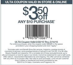05007221bd Pinned March 6th   3 off  10 at Ulta or online via promo code 306520   coupon via The  Coupons App