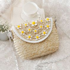 Floral Accented Straw Messenger Shoulder Bag, Pink, White Or Yellow