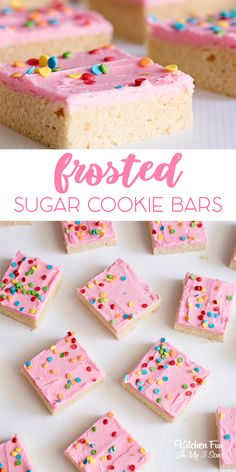 Frosted Sugar Cookie Bars recipe. #cookies #sugarcookies #cookiebars #baking #yummy #food #foodblogger