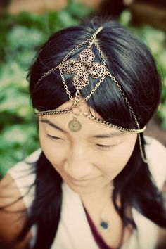 Aurora Chain headdress, tribal brass chains