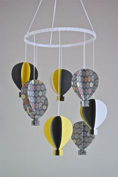 So cute!!! Unisex 3D 'Numbers Print' Paper Hot Air Balloon Mobile. $65.00, via Etsy.